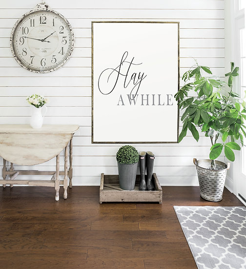 STAY A WHILE | Flat Canvas Wall Art | Home Decor | Wall Art | Ready to Frame