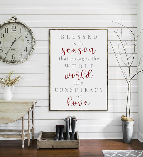 BLESSED IS THE SEASON | Flat Canvas Wall Art | Christmas Signs | Ready to Frame