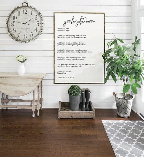 GOODNIGHT MOON | Flat Canvas Wall Art | Home Decor | Wall Art | Ready to Frame