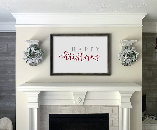 HAPPY CHRISTMAS | Flat Canvas Wall Art | Christmas | Ready to Frame