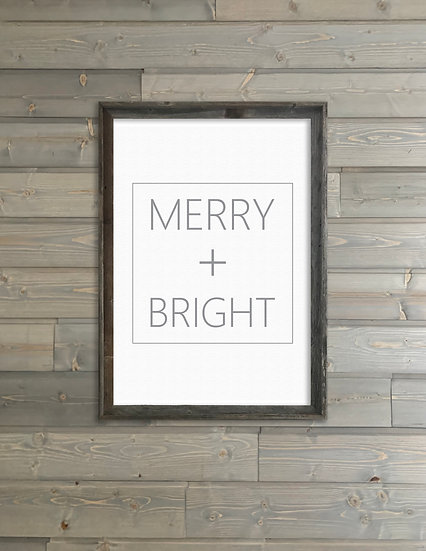 MERRY AND BRIGHT | Flat Canvas Wall Art | Christmas | Ready to Frame