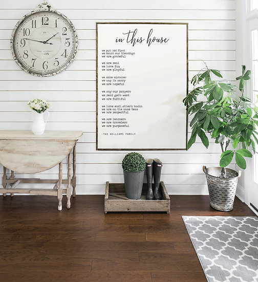 IN THIS HOUSE   Flat Canvas Wall Art   Home Decor   Wall Art   Ready to Frame