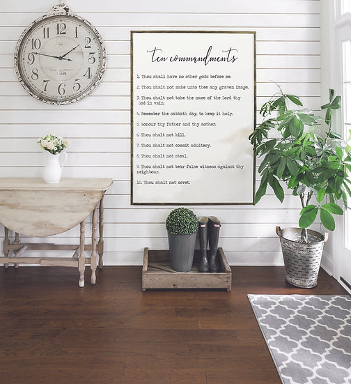 TEN COMMANDMENTS | Flat Canvas Wall Art | Home Decor | Ready to Frame