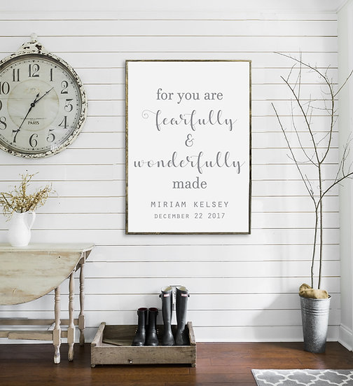 WONDERFULLY MADE | Flat Canvas Wall Art | Home Decor | Wall Art | Ready to Frame
