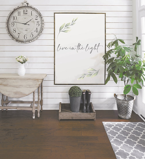 LIVE IN THE LIGHT | Flat Canvas Wall Art | Home Decor | Ready to Frame