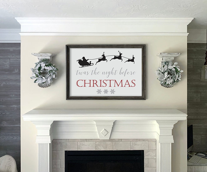 Twas the Night Before | Flat Canvas Wall Art | Christmas Signs | Ready to Frame