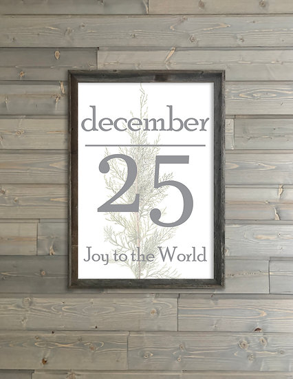 DECEMBER 25 | Flat Canvas Wall Art | Christmas | Ready to Frame