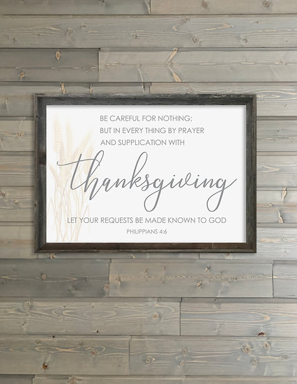 THANKSGIVING | Flat Canvas Wall Art | Autumn Signs | Ready to Frame