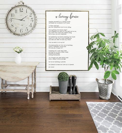 A LIVING HOUSE | Flat Canvas Wall Art | Home Decor | Wall Art | Ready to Frame