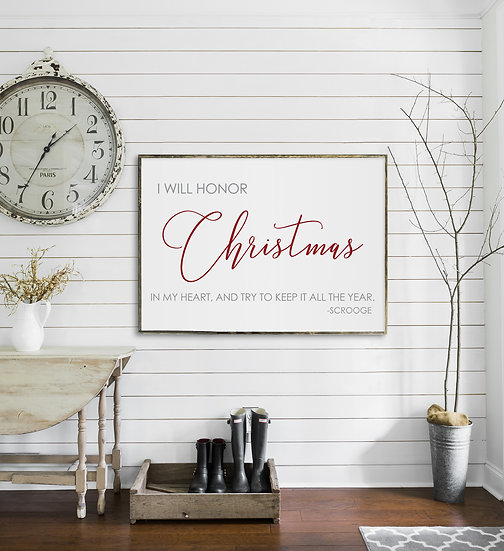 A Christmas Carol | Flat Canvas Wall Art | Christmas Signs | Ready to Frame