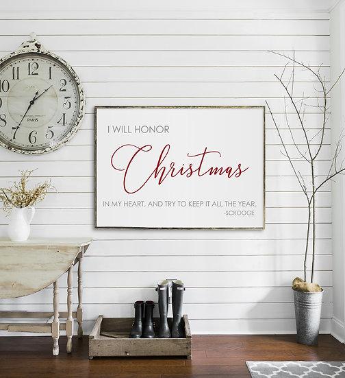 A CHRISTMAS CAROL | Flat Canvas Wall Art | Christmas Signs | Ready to Frame