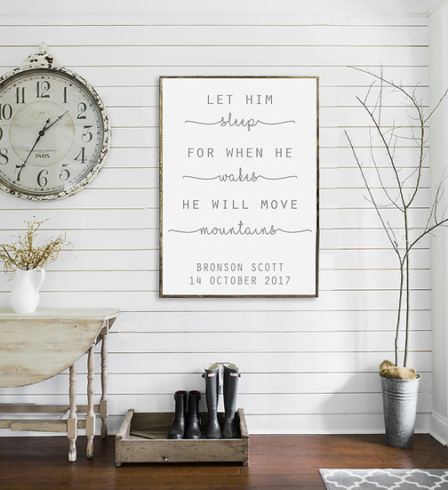 LET HIM SLEEP | Flat Canvas Wall Art | Home Decor | Wall Art | Ready to Frame
