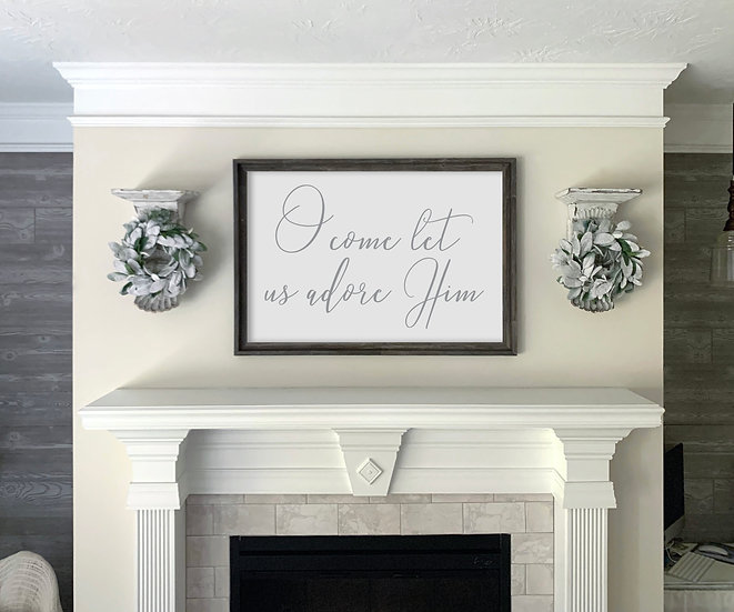 O COME LET US ADORE HIM | Flat Canvas Wall Art | Christmas | Ready to Frame