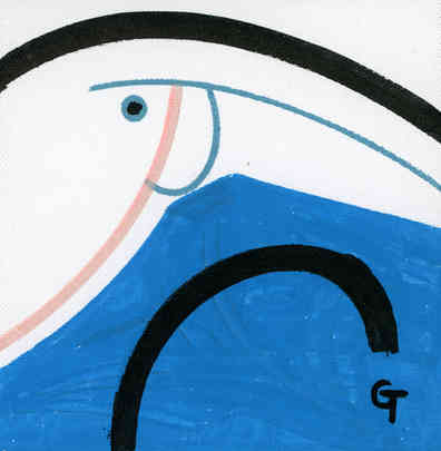 Fish and lines 3. Acrylic on canvas.