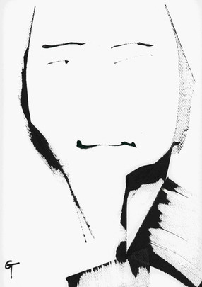No nose man. Pigment ink on paperl