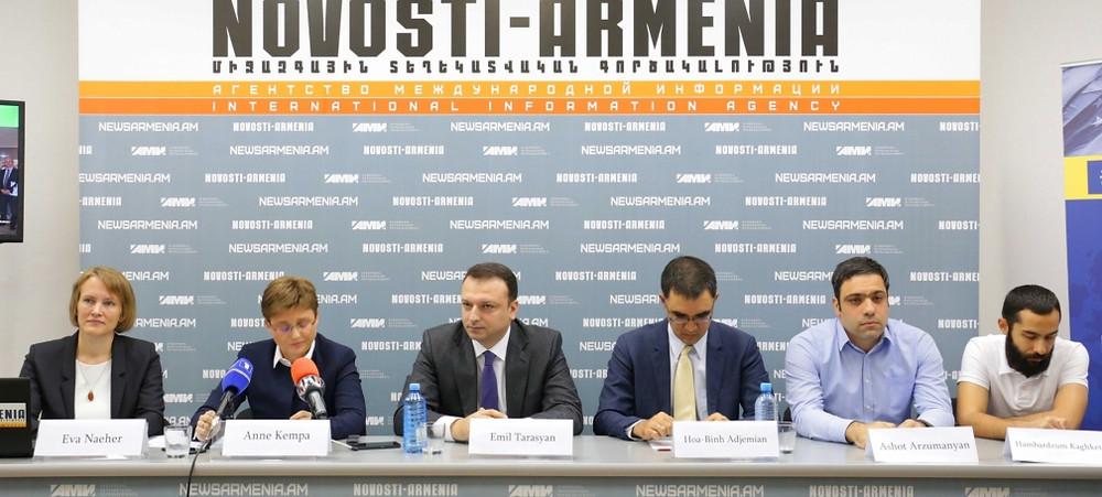 Press conference on October 3, 2017. Eva Naeher, Anna Kempa, Emil Tarasyan, Binh Adjemian, Ashot Arzumanyan, Hambardzum Kaghketsyan