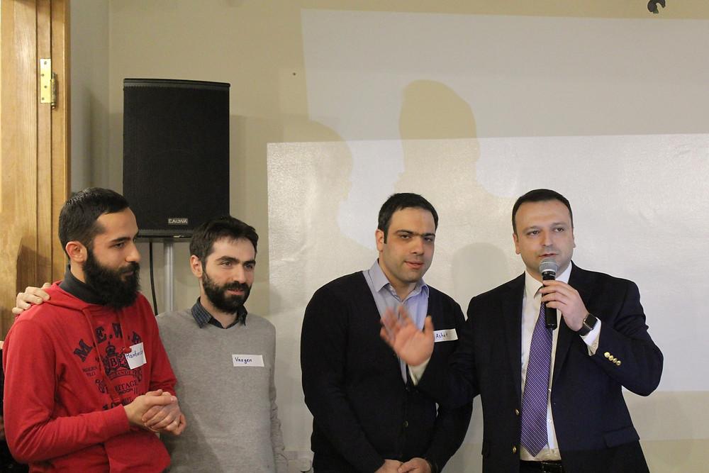 From left: Hambardzum Kaghketsyan (SmartGateVC), Vazgen Hakobjanyan (SmartGateVC), Ashot Arzumanyan (SmartGateVC), Emil Tarasyan (Deputy Minister, MEDI)