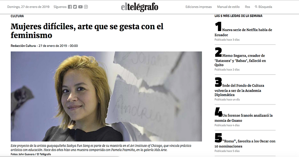 Screen shot of El Telégrafo article on the web