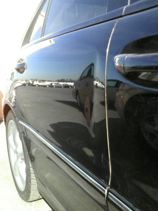 Mercedea rear door edge crease