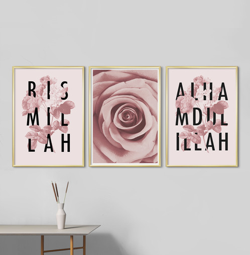 pink and green botanic and typography combi 3 large posters