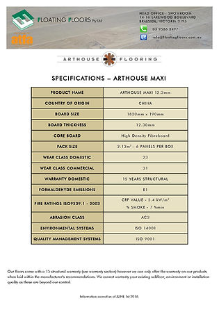 Arthouse Maxi Specifications