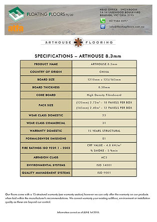 Arthouse 8MM Specifications