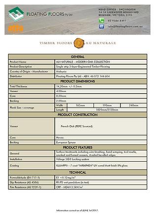 Modern Oak Specifications