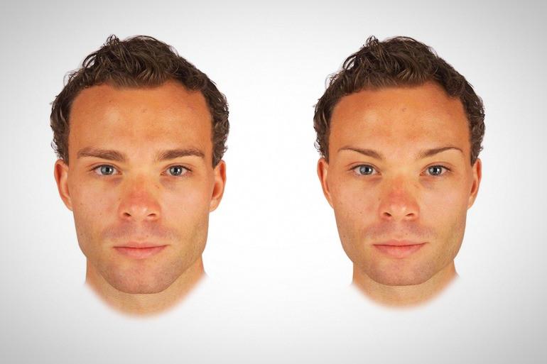 Versão mais masculina e mais feminina de rosto de homem