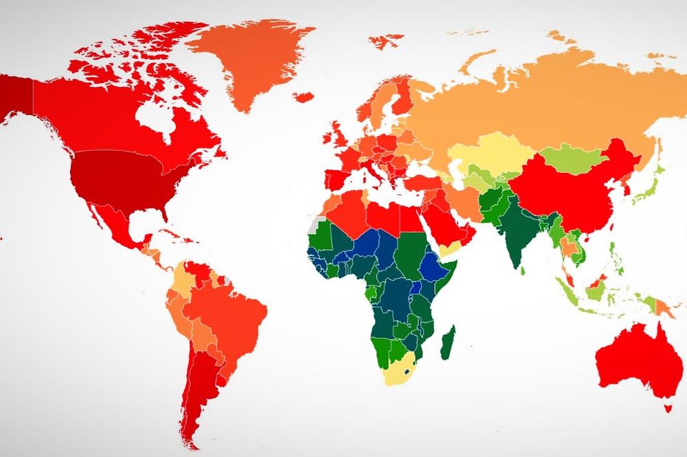 Mapa da obesidade de meninos e adolescentes no mundo