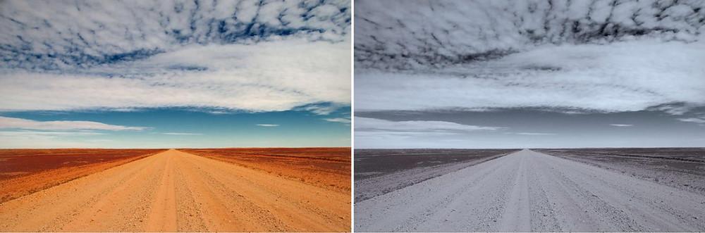 Paisagem colorida e em preto e branco do Instagram