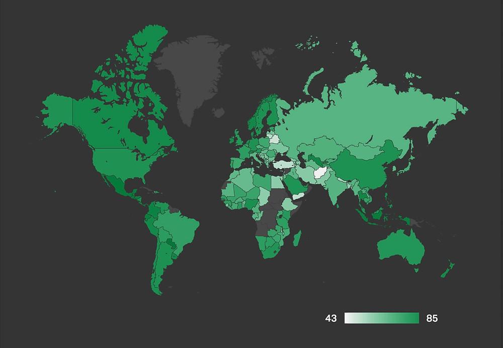 Mapa mundial Gallup de experiências positivas