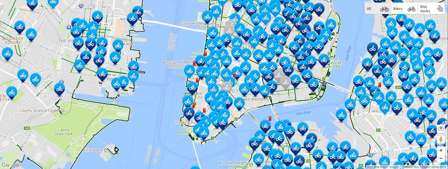 Mapa das bicicletas da Citi Bike em Nova York