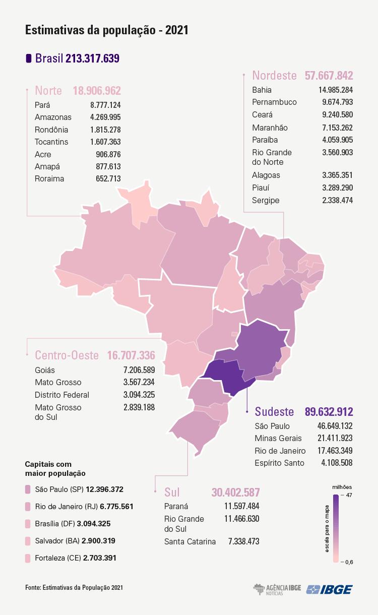 Infográfico sobre população brasileira