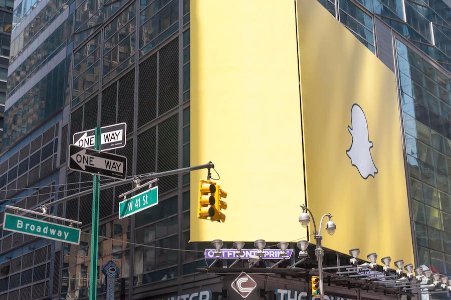 Logo do Snapchat em Times Square