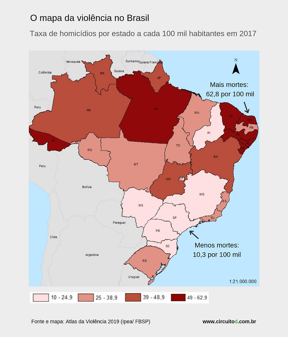 Mapa da violência no Brasil por estado