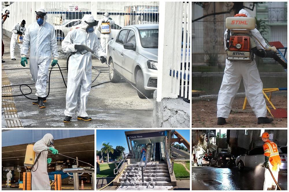 Colagem de fotos de desinfecção das cidades brasileiras