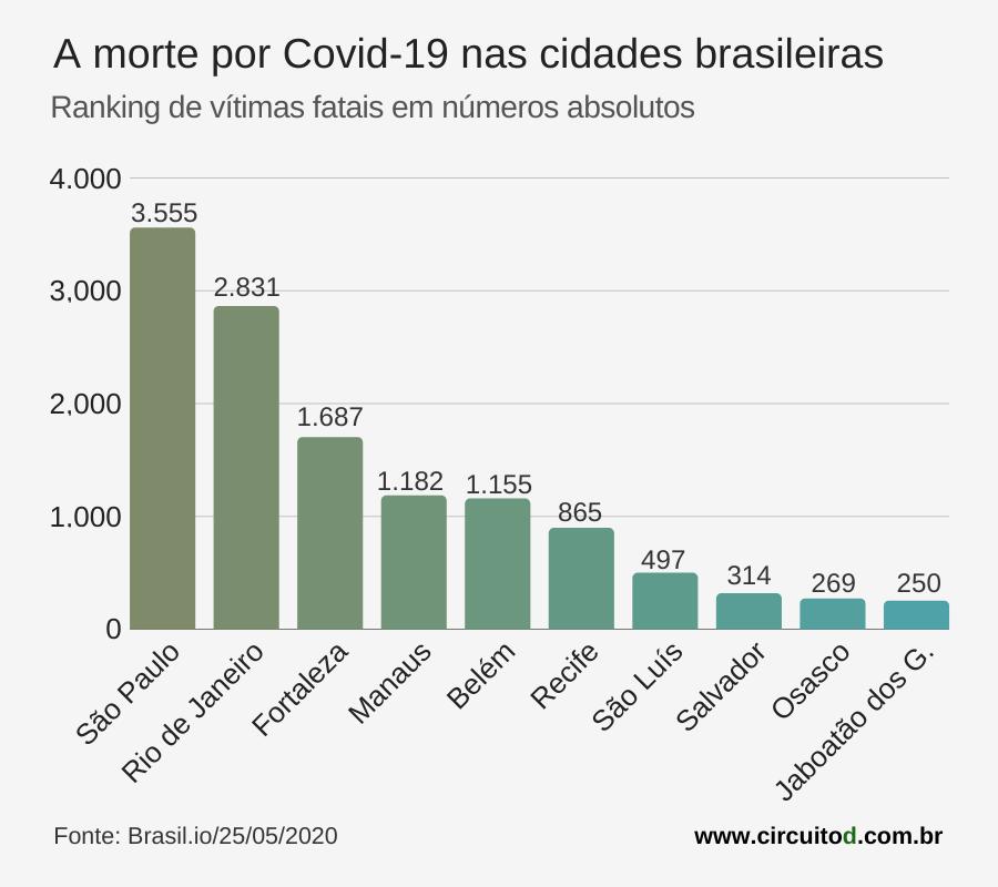 Gráfico das mortes por Covid-19 nas cidades brasileiras