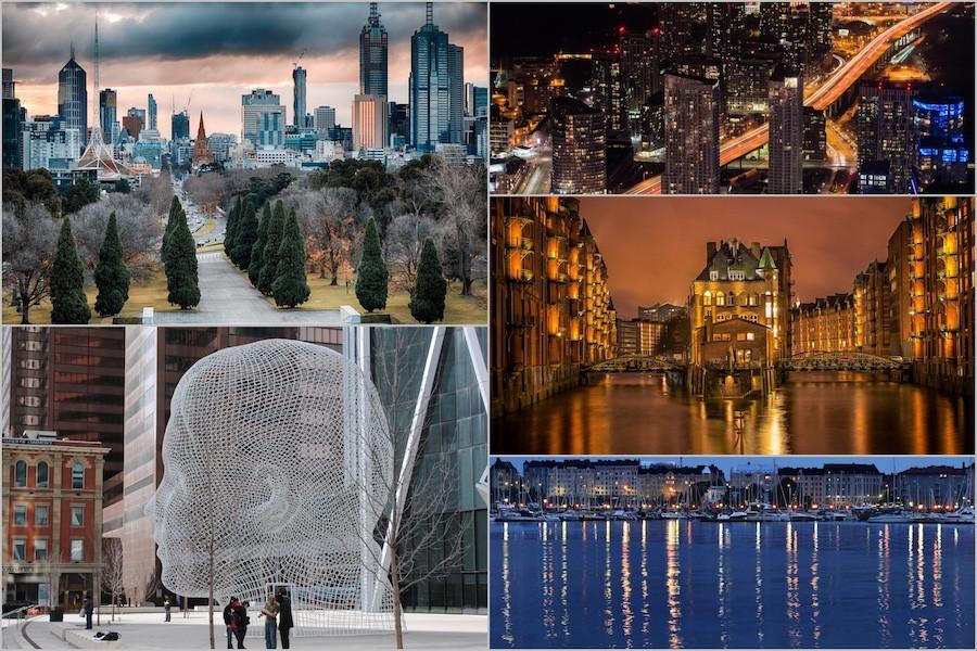 Colagem das melhores cidades do mundo para viver