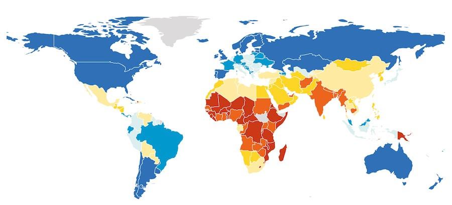 Mapa da performance global em meio ambiente