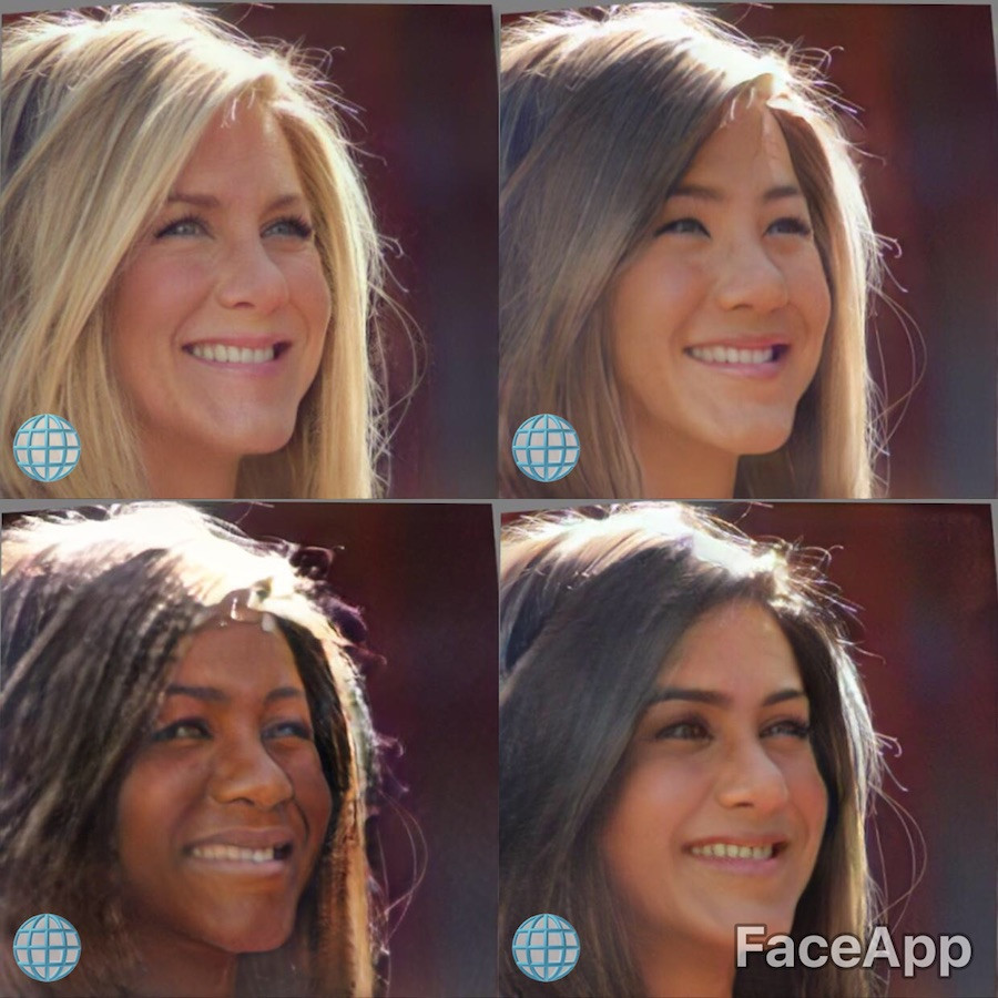 ennifer Aniston ao natural, asiática, negra e indiana com filtro do FaceApp