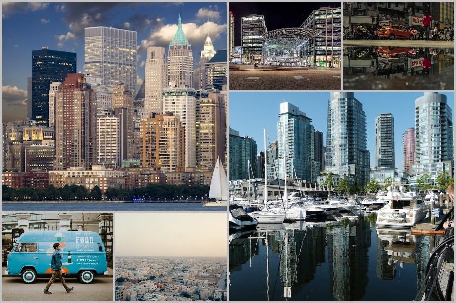 Colagem de várias cidades poluidoras