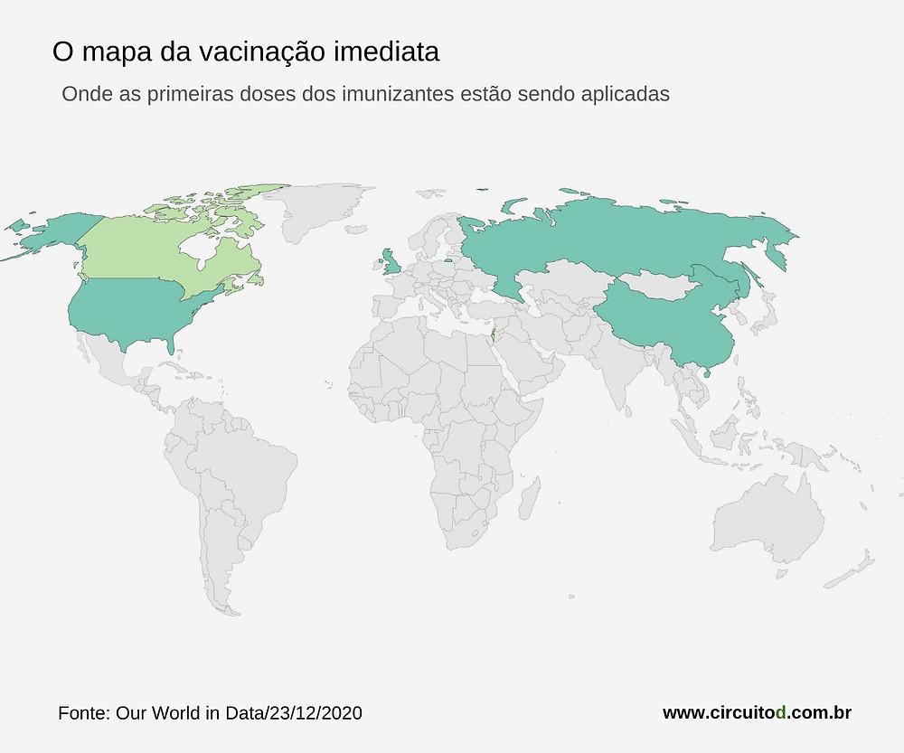 Mapa das primeiras vacinações contra Covid