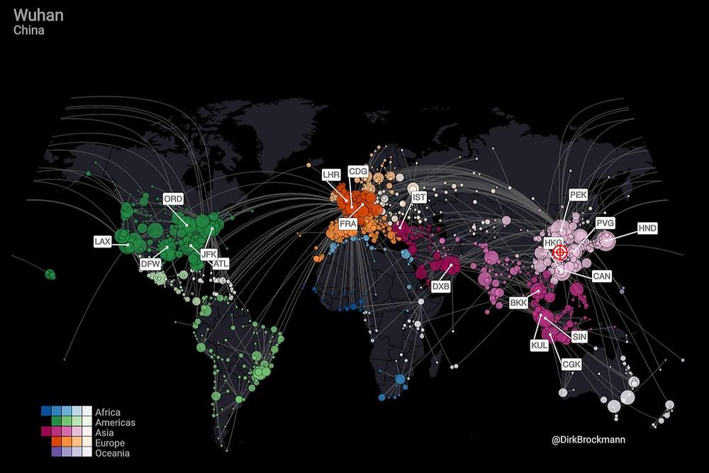 Mapa de propagação do novo coronavírus