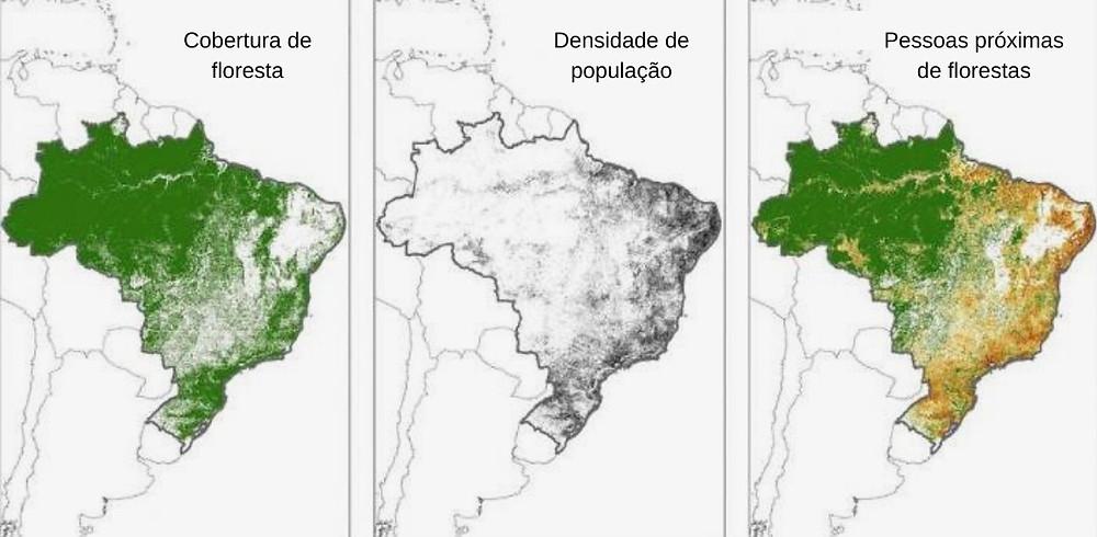 Mapas de florestas e pessoas perto delas no Brasil
