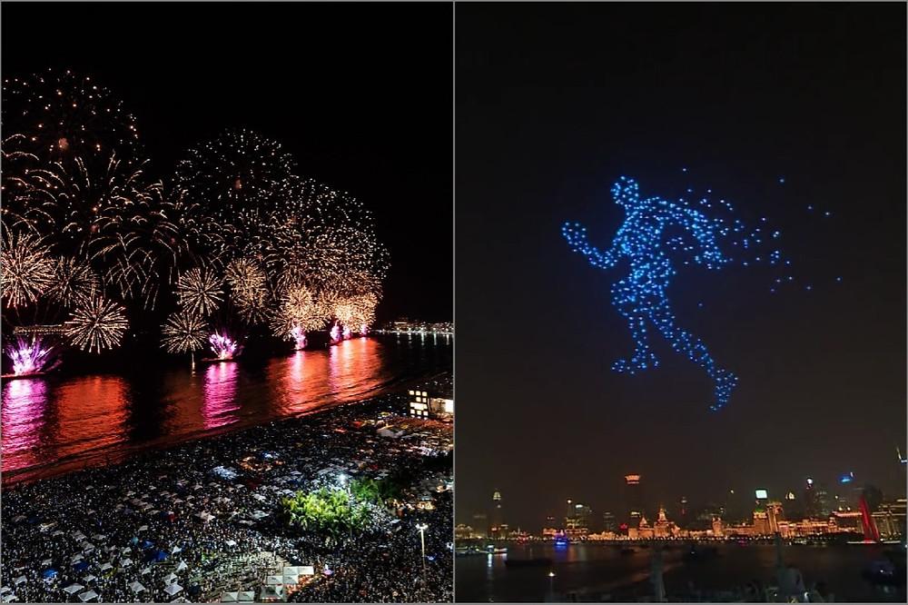 fogos de artifício no Rio e drones em Xangai