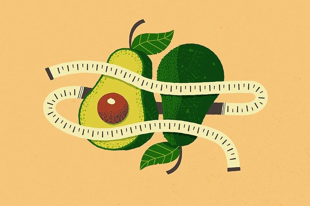 Abacate com fita métrica