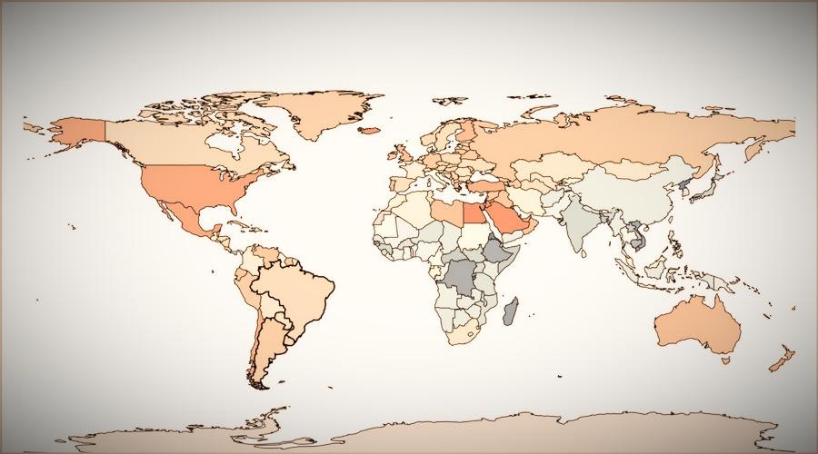 Mapa do sobrepeso no mundo