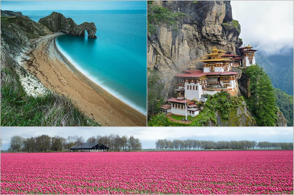 Costa Jurássica, monastério do Butão e flores na Holanda