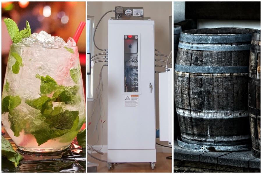 Mojito, reator que envelhece destilados e um barril tradicional