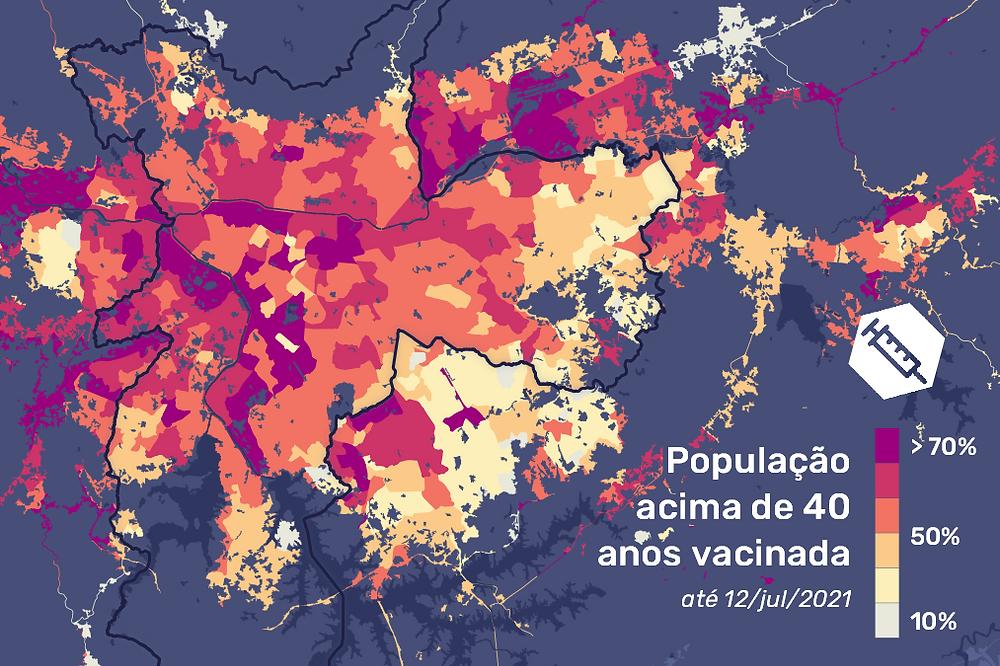 Mapa da vacinação em São Paulo
